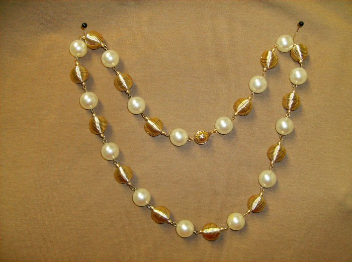 Faux Pearl Coil Bead Vintage Necklace/Earring Set