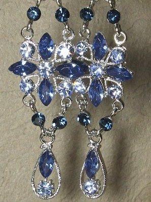 Crystal Blue & Silver Swarovski Earrings