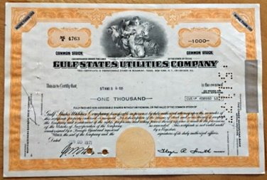 Gulf States Utilities Company vintage stock certificate