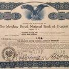 The Meadow Brook National Bank of Freeport vintage stock certificate