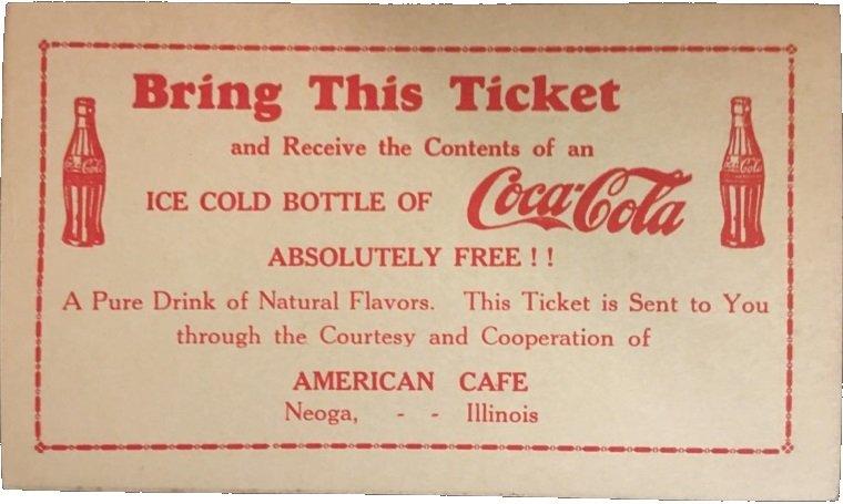 vintage Free Coca Cola Ticket