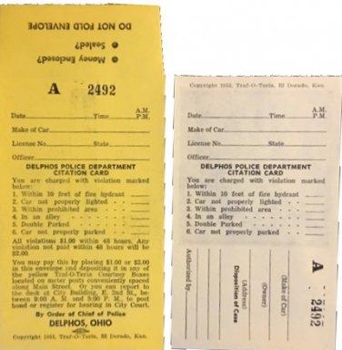 vintage unused Delphos, Ohio ticket