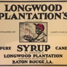 vintage Longwood Plantation syrup can label