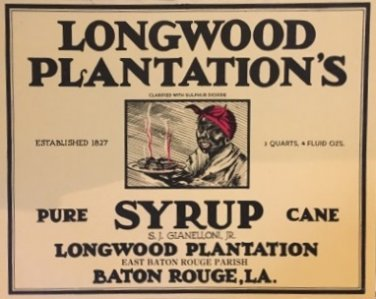 vintage Longwood Plantation syrup can label