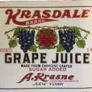 vintage Krasdale Grape Juice Label