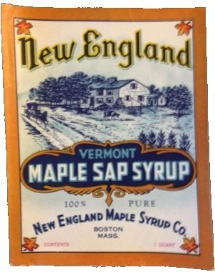 vintage New England Maple Sap Syrup label