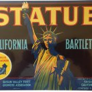 vintage Statue California Bartletts crate label
