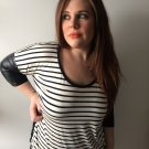 Clothing - Black & White Striped Shirt with Colorblock Sleeves - Medium