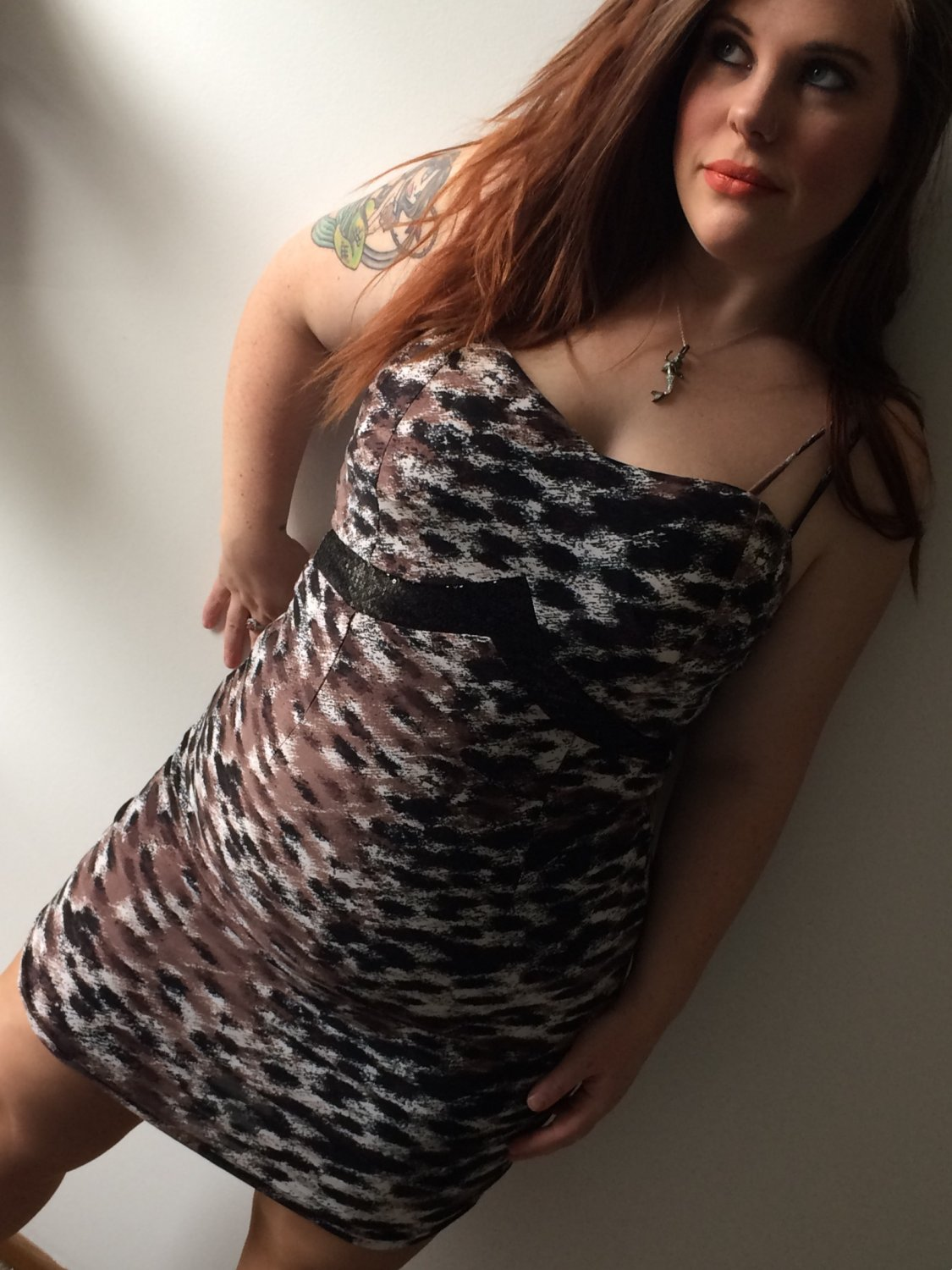 Clothing - Brown Cheetah Print Dress with Sequined Underbust - Large