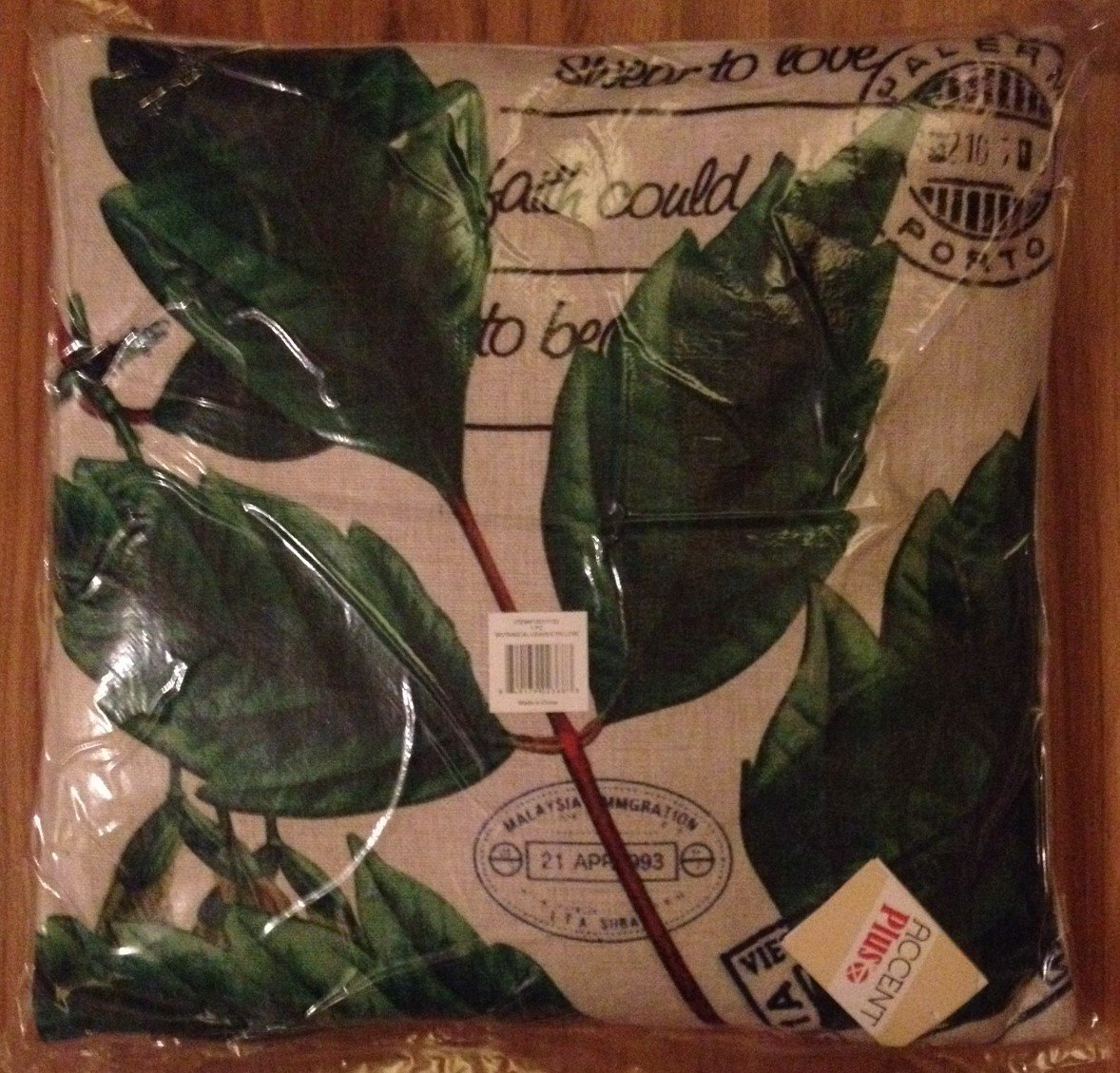 Postcard Botanical Leaves Decorative Pillow - NEW
