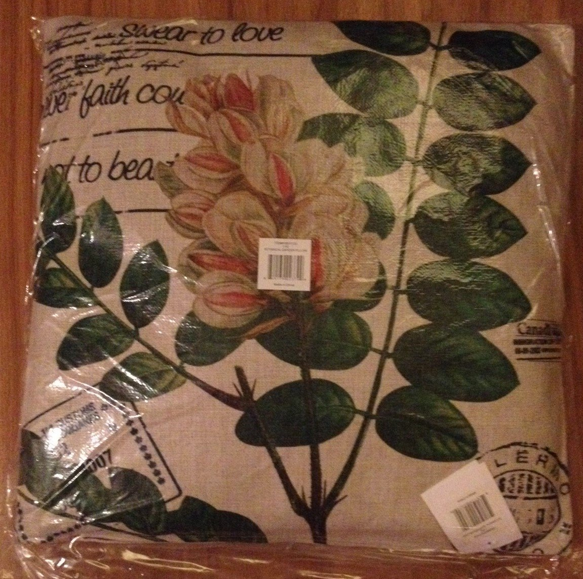 Home - Leaf and Script Decorative Pillow - NEW
