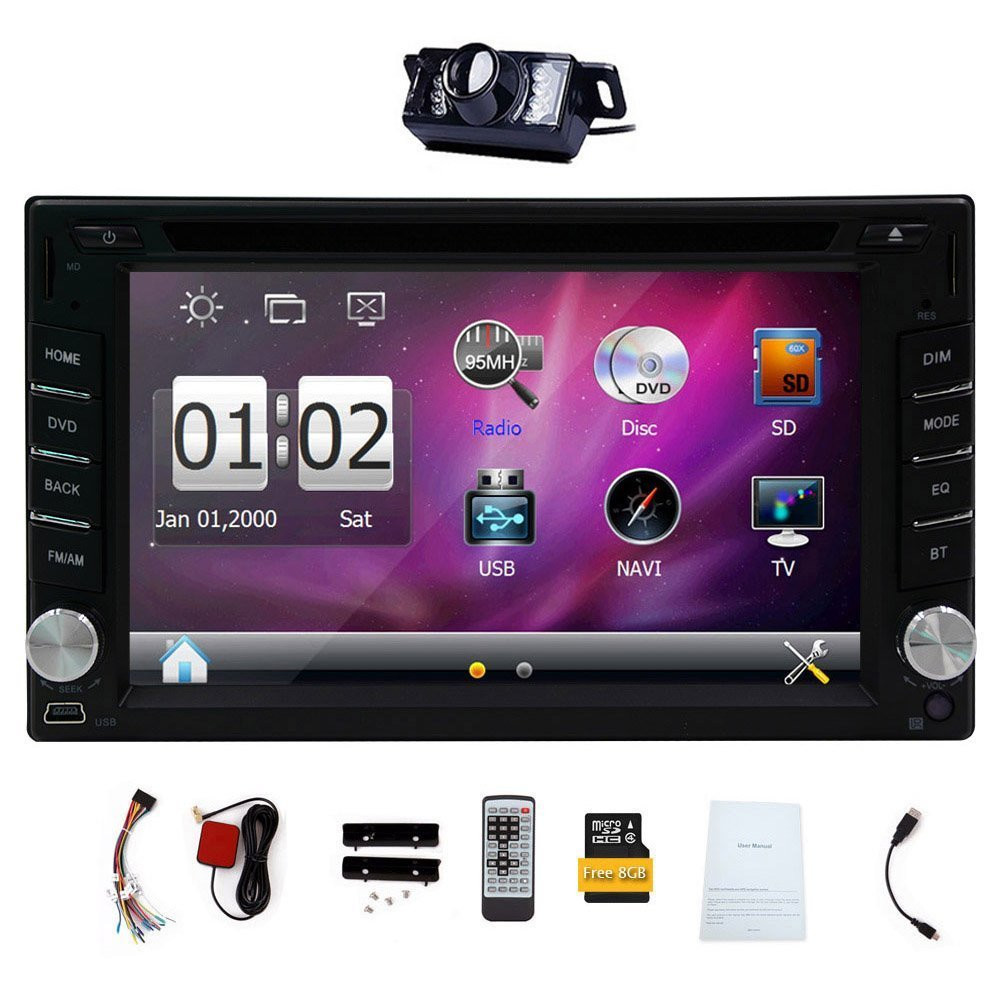 "6.2"" Double 2 DIN Car DVD CD Video Player Bluetooth GPS Navigation"