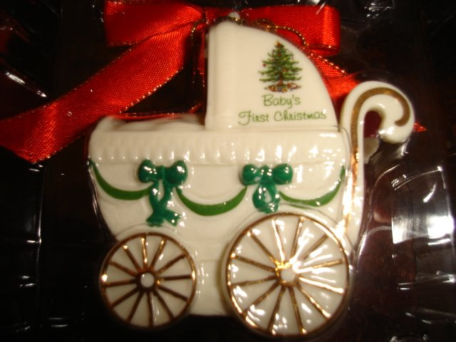 Spode Christmas Tree BABY'S FIRST CHRISTMAS Baby Carriage FREE SHIPPING