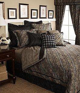 Tommy Hilfiger YORK Queen Comforter Set Brown Paisley