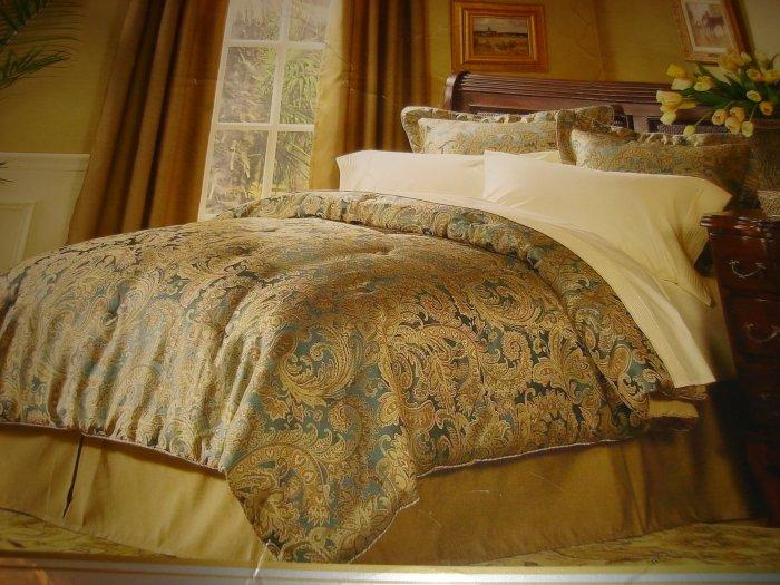 Raymond Waites Queen Comforter Set 4 PC Teal Gold