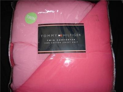 Tommy Hilfiger 100% Cotton Jersey Knit Comforter PINK