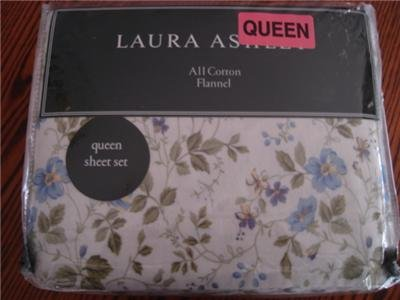 Laura Ashley Spring Bloom Flannel Queen Sheet Set Green Blue Floral
