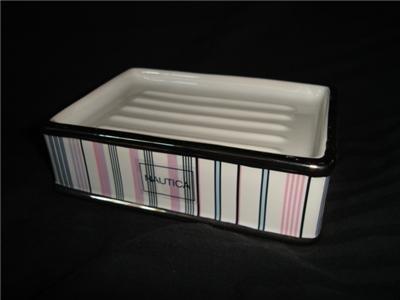 Nautica Greenwich Pink Striped Ceramic Soap Dish