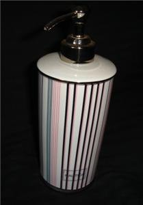 Nautica Greenwich Soap Pump Lotion Dispenser Pink Stripe
