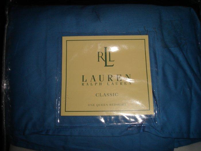 Ralph Lauren Classic Oceanside Blue Queen Bedskirt Tailored