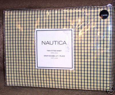 Nautica Tattersall Yellow Twin Fitted Sheet Yellow Navy Check