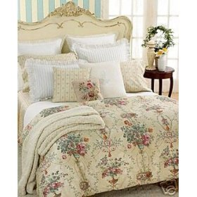 Ralph Lauren Villandry Floral Full Queen Duvet CoverBeige