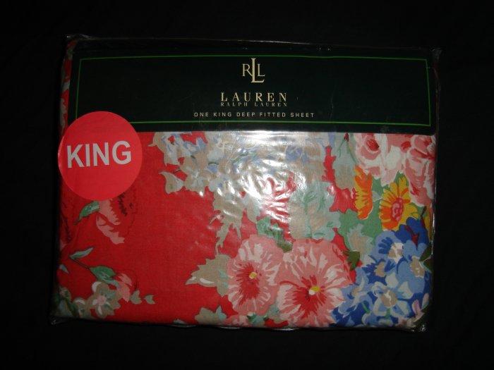 Ralph Lauren Beach House Floral Fuschia King Fitted Sheet