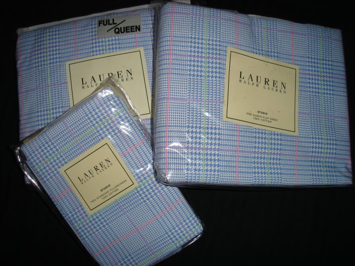 Ralph Lauren Studio Glen Plaid Blue Queen Sheet Set 4PC