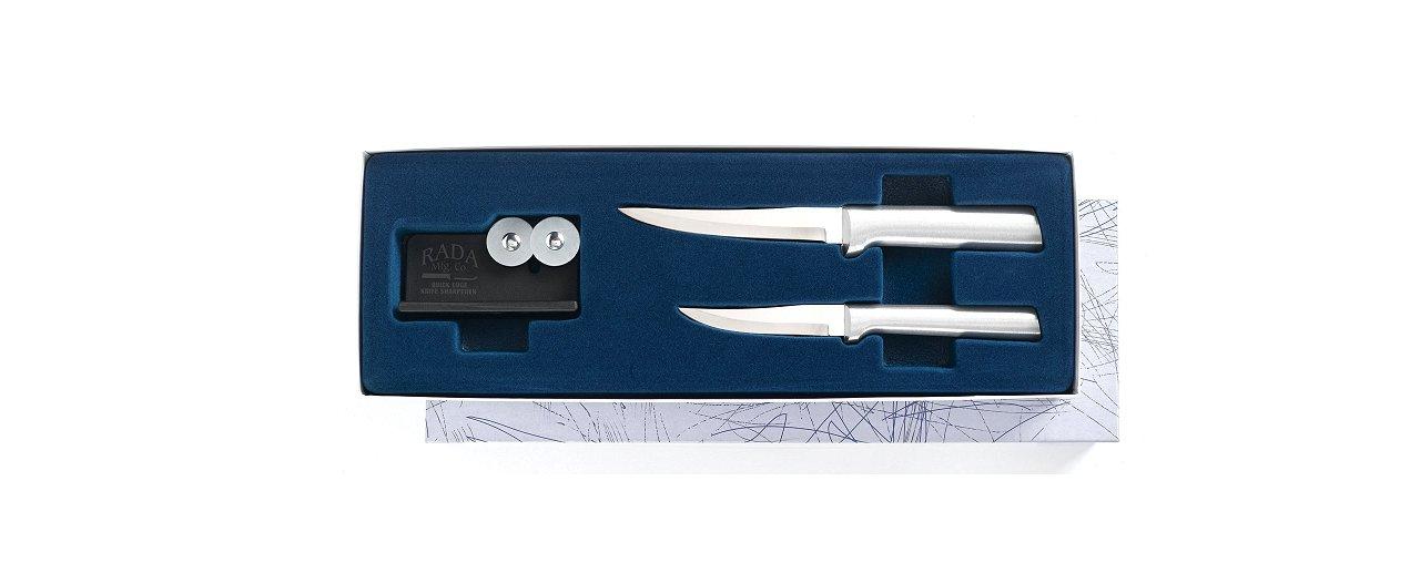 Paring Pair Plus Sharpener Gift Set Silver Handle