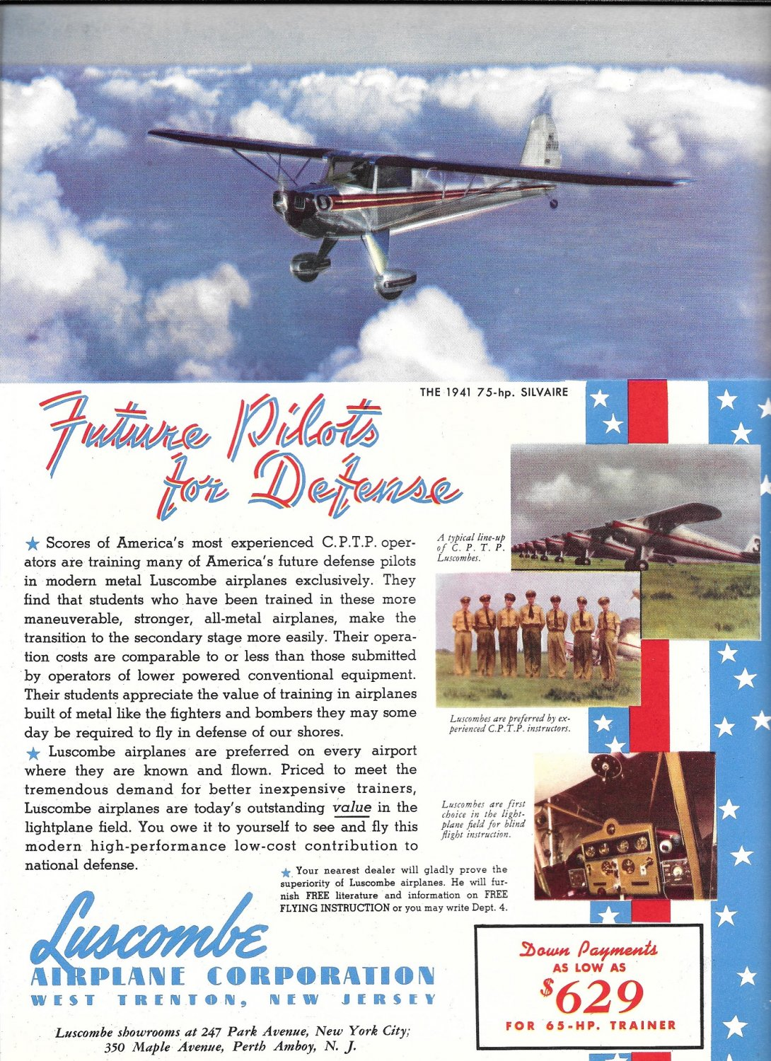 1941 Luscombe Silvaire Airplane Ad Future Pilots For Defense