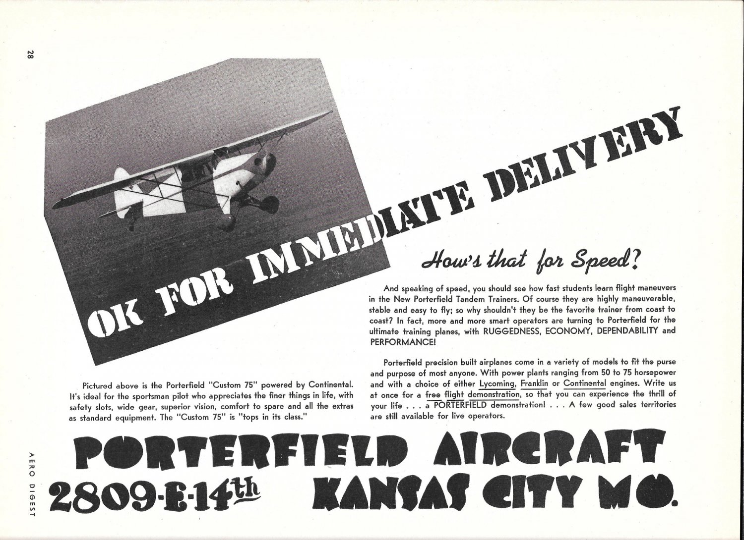 1941 Porterfield Custom 75 Plane Ad OK For Immediate Delivery