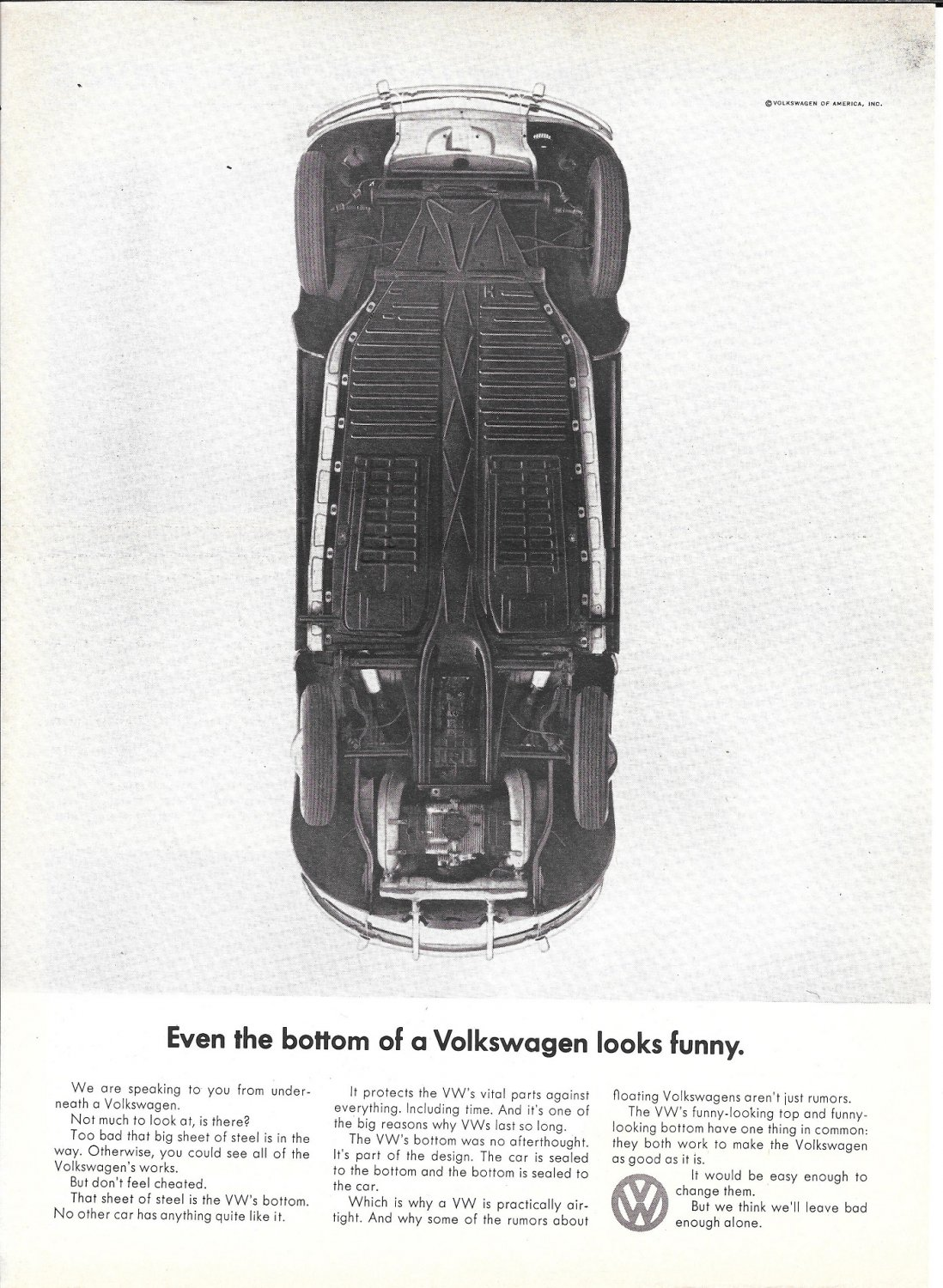 1965 Volkswagen VW Beetle Car Even The Bottom Looks Funny Ad
