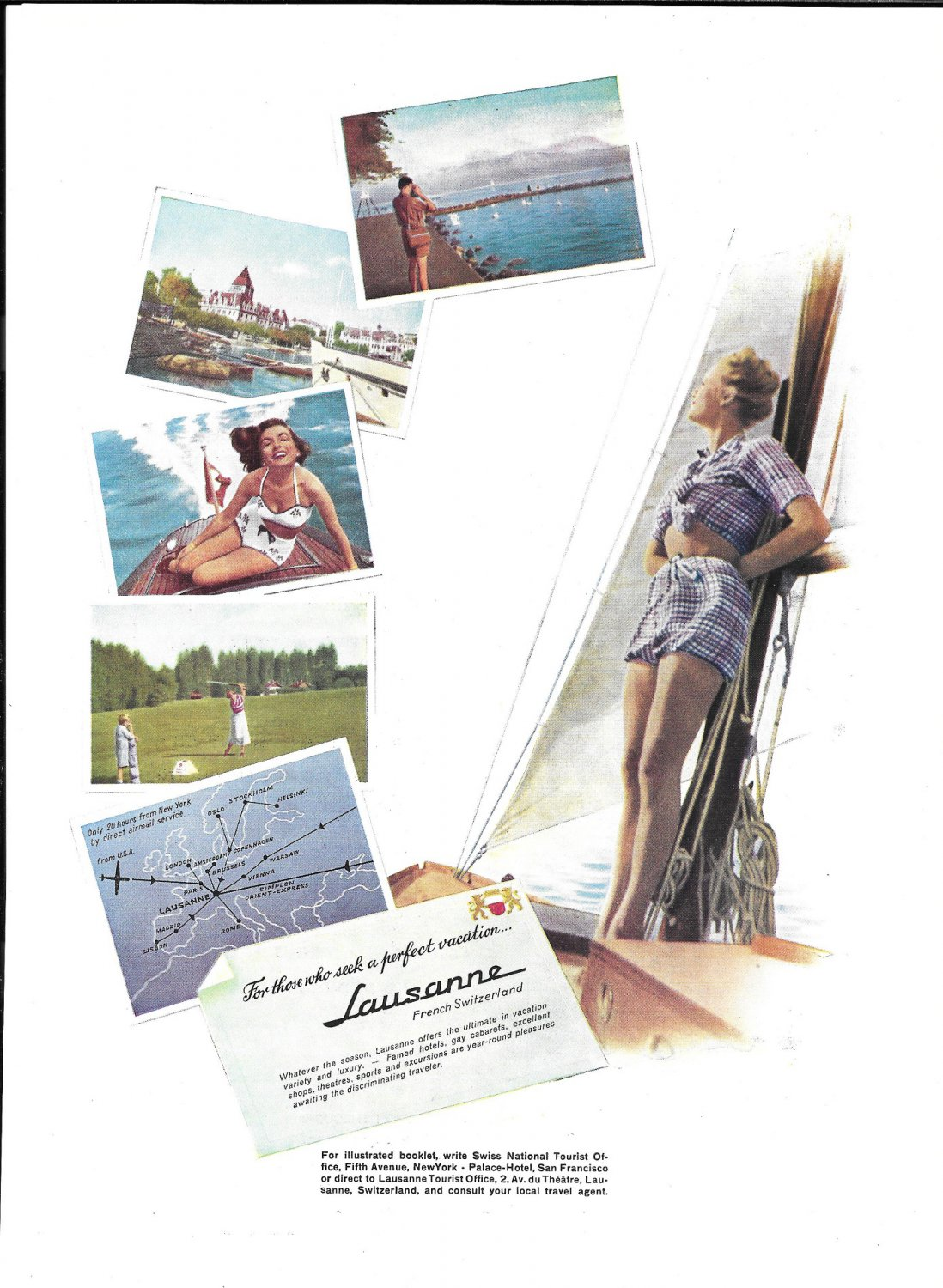 1949 Lausanne French Switzerland Tourist Ad