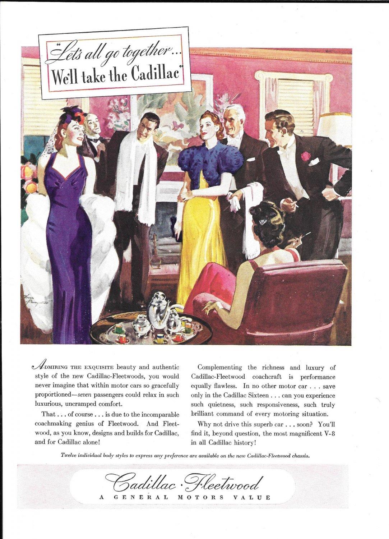 C.1938 Cadillac Car Ad Elegant Couples Ad