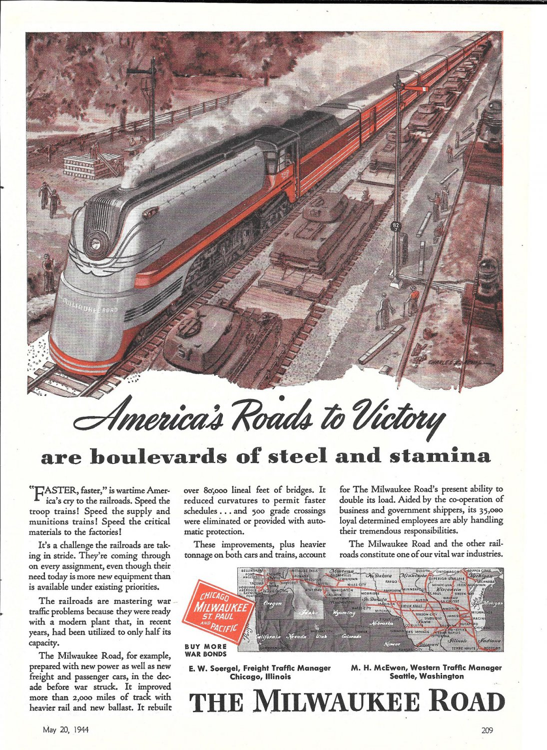 1944 The Milwaukee Road Railroad America's Roads To Victory Ad