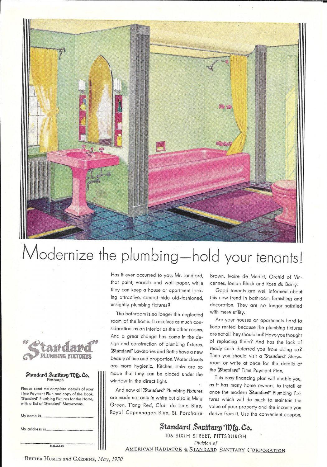 1930 Standard Plumbing Fixtures Modernize Hold Your Tenants Ad