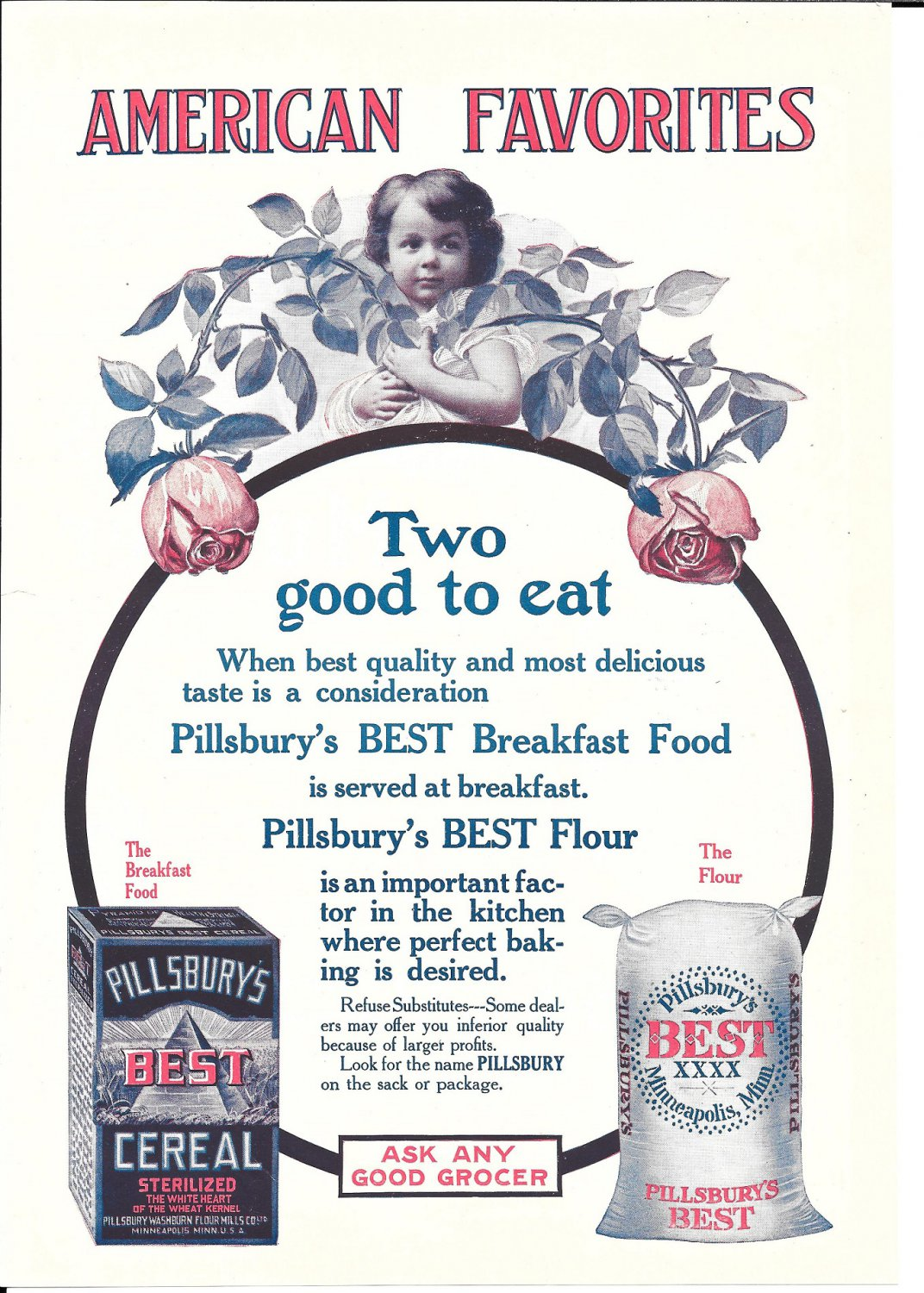 1897 Pillsbury's Best Breakfast Food & Flour American Favorites Ad