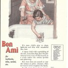 Old Bon Ami Cleanser Mother Watching Daughter Clean Tub Ad