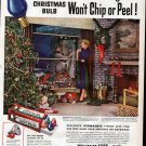 1951 Westinghouse Christmas Bulbs Couple Decorating House Ad