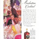 1934 Spring Garden Rye Whiskey Manhattan Cocktail Ad Restaurant Guests