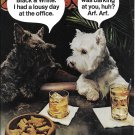 1974 Black & White Scotch Scottie Dogs Having Drink At Bar Ad