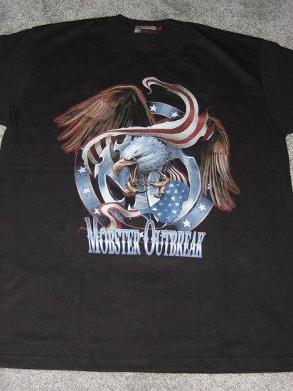 NWT Bald Eagle American Mobster with flag Men T-Shirt size L biker chopper