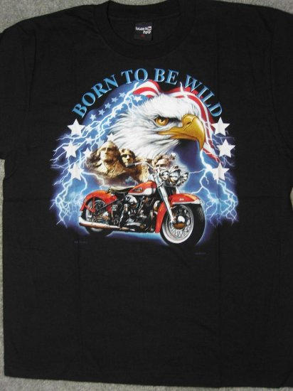 Biker Born to Be Wild American Eagle on Mt. Rushmore Men T-Shirt size XL chopper