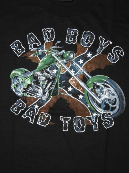 NWT Bad Boys Bad Toys Rebel Confederate Flag Men Biker Shirt size XL