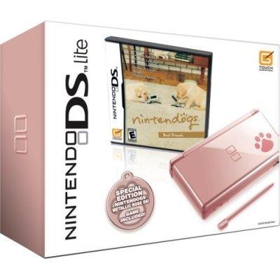 Nintendo DS Lite Metallic Rose Bundle with Nintendogs Best Friends Bundle
