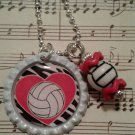 Volleyball Red Heart Necklace