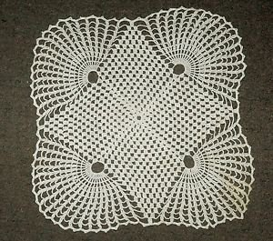 VINTAGE  ivory white crocheted macrame tablecloth lace 1960s handmade