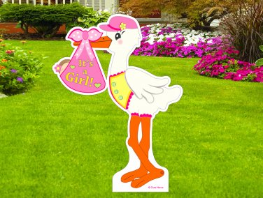 """It's a New Baby Girl"" 4 Foot-Tall  Lawn Stork Arrival Yard Decoration Birth Display Die Cut Sign"