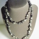 Gemstone Necklace Black White 33 Inch