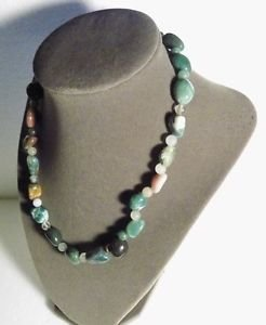 Gemstone Necklace Green Brown and White 17.5 Inch